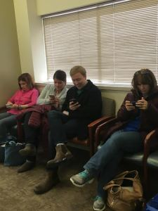 What would we do without cell phones in the waiting room?
